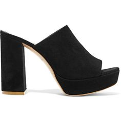 Mansur Gavriel Suede platform sandals ($625) ❤ liked on Polyvore featuring shoes, sandals, black, slip on sandals, black platform shoes, black high heel shoes, suede sandals and black platform sandals