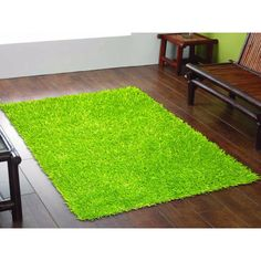 Lime green shag rug - would go good with a black and white room :)