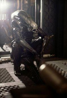 Bolaji Badejo, taking a break in costume on the set of Alien (1979)