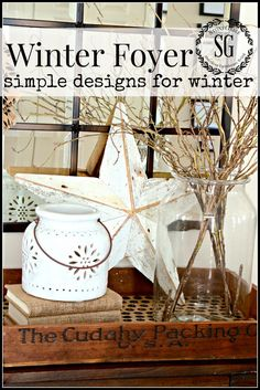"""I must be one of those few people who love winter! After Christmas I am ready to strip down my home to a less decorated and more uncomplicatedstyle. I love how """"fresh"""" my home looks after all the StoneGable halls have been de-decked.This year I started with my foyer, giving it over to the simplicity …"""