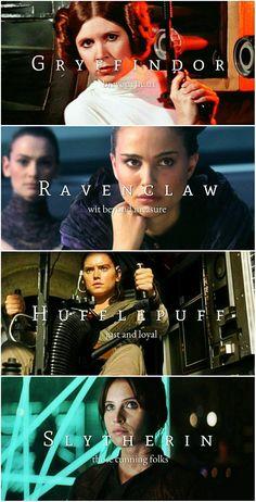 Star Wars Leading Ladies + Hogwarts Houses