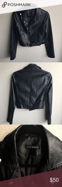Brandy Melville faux leather jacket Reselling this beautiful Brandy Melville faux leather jacket! It's one size but I say fits best as a small. Perfect condition. Tags: Brandy Melville American apparel Zara top shop old navy urban outfitters john galt pacsun tillys buy Brandy Melville Jackets & Coats