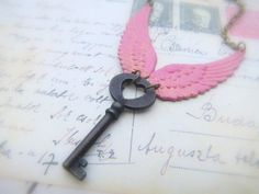 Love this angel wing necklace too! Skeleton Key Necklace, Angel Wing Necklace, Jewelry Ideas, Unique Jewelry, Key To My Heart, Key Pendant, Angel Wings, Tour, Pretty In Pink