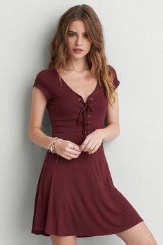 American Eagle Outfitters AEO Soft & Sexy Lace-Up Dress