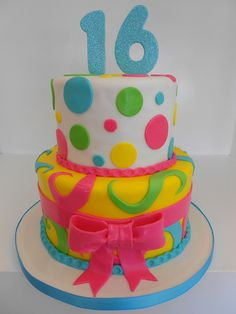 Colorful Sweet sixteen cake, perfect for a Katy Perry theme! Pretty Cakes, Cute Cakes, Beautiful Cakes, Sweet 16 Birthday Cake, Birthday Cake Girls, 16th Birthday, Birthday Cakes, Birthday Ideas, Sweet Sixteen Cakes