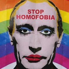 """#Repost @lgbt_history ・・・ """"STOP HOMOFOBIA,"""" placard from protest against Russian anti-gay laws, Russian embassy, Madrid, Spain, August 23, 2013. Photo by Dennis Doyle, c/o @gettyimages. Russian authorities recently announced that this image of a drag queen Putin is considered extremist and therefore illegal. #HavePrideInHistory #Resist #lgbtrights"""