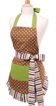 wrap around green/brown apron