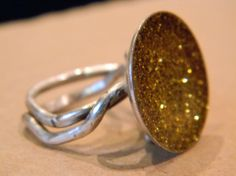 Big Ring in Sterling Gold glitter and resin