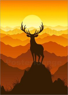 This would make a gorgeous quilt!!! Deer at sunset Bilder: Poster von Elena Andreeva bei Posterlounge.de