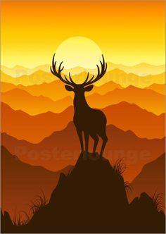 This would make a gorgeous quilt!!! Deer at sunset Bilder: Poster von Elena Andreeva bei Posterlounge.de