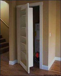 replace a closet door with a bookcase door.