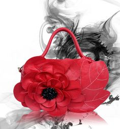 Ladies Handmade Red Flower Genuine Leather Handbags/crossbody bags OUOVO LL5007
