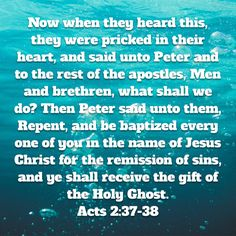 Be Baptized (water immersion ) in Jesus Name for the Remission of your Sins.