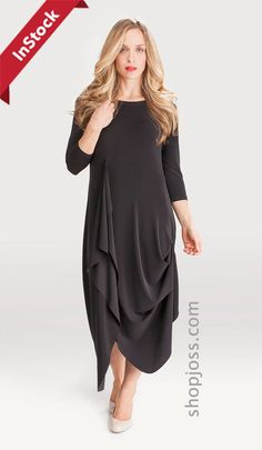 Sympli Dress Drama, 3/4 Sleeve - Black - JOSS Boutique