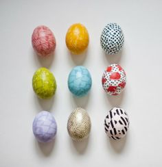 washi tape - more cute easter eggs - you can't do that with food coloring!
