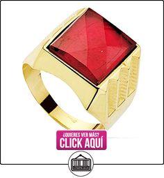 Sello oro 18k centro piedra espinela roja 14x12mm. [AB2283]  ✿ Joyas para hombres especiales - lujo ✿ ▬► Ver oferta: https://comprar.io/goto/B06XY7884M