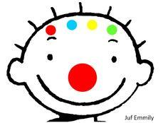 Jules viert carnaval: in navolging van het thema kleuren: geef Jules een rode, groene, blauwe of gele neus