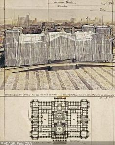 christo drawing - Wrapped Reichstag
