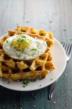 Savory Waffles with Cheddar and Chives | Umami Girl