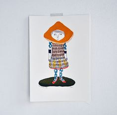 Miscaro Girl - gocco screen print - limited edition. $18.00, via Etsy.