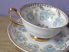 Antique bone china tea cup and saucer set, vintage Royal Grafton English tea set, hand painted blue roses tea cup, gold blue white tea cup. ♥