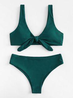 Knot Front Plain Bikini SetFor Women-romwe - Bikini Swim Tops - Ideas of Bikini Swim Tops Bathing Suits For Teens, Summer Bathing Suits, Cute Bathing Suits, Summer Swimwear, Green Bikini, Green Swimsuit, Bandeau Bikini, Swimsuit Tops, Vintage Bikini