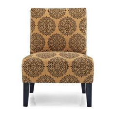 Upholstered wood accent chair with a medallion motif and foam cushioning. Product: ChairConstruction Material: Kiln dried hardwood and fabricColor: SpiceFeatures: Great addition to any roomDimensions: H x W x D Cute Furniture, Accent Furniture, Furniture Design, Furniture Ideas, Home Design Decor, Home Decor, Design Ideas, Interior Design, Living Room Seating