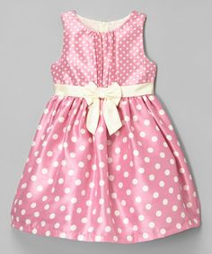 Look at this Pink Polka Dot Shantung Dress - Infant, Toddler & Girls on #zulily today!