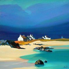 Watercolor Landscape, Landscape Art, Landscape Paintings, Watercolor Paintings, Watercolour, Blue Painting, Naive Art, Seascape Paintings, Abstract Art