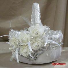 Розы из ткани и свадебная корзинка из картона своими руками (3) (550x550, 174Kb)