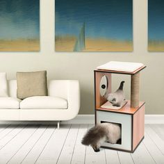 Vesper V-Box, Small, Walnut *** Visit the image link more details. (This is an affiliate link) Vesper Cat Furniture, Cat Activity, Scratching Post, Just Relax, Cat Tree, Small Boxes, Bed Furniture, Engineered Wood, Cubbies