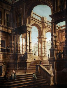 karoline-von-manderscheid: Studio of Giuseppe Galli Bibiena A capriccio of a baroque palace with numerous figures on the steps and terraces. Fantasy City, Fantasy Places, Fantasy World, Classical Architecture, Ancient Architecture, Art And Architecture, Historical Architecture, Environment Concept Art, Environment Design