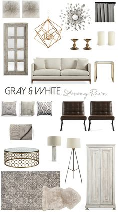 Living Room inspiration | Mood board featuring living room ideas in gray and white, all from @Arhaus #arhaus #interiordesign #homedesign #homestyle #stylemyhome