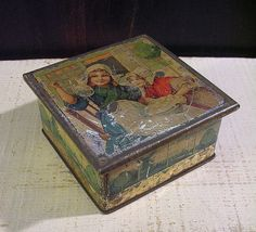 Antique Tin Box with Dutch Girls Blowing Bubbles in by tinprincess