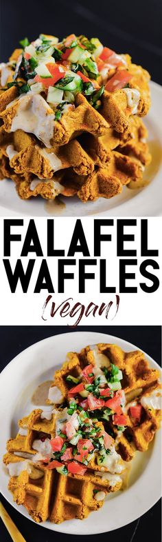 These Vegan Falafel Waffles are studded with traditional Middle Eastern spices and incredibly fluffy thanks to a secret ingredient! Drizzle on tahini sauce and enjoy for a wholesome breakfast, lunch or dinner.