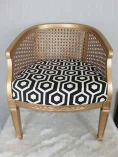 SOLD-Vintage Hollywood Glam Hollywood Regency Style Gold Metallic Cane Back Barrel Chair Black/White Seat