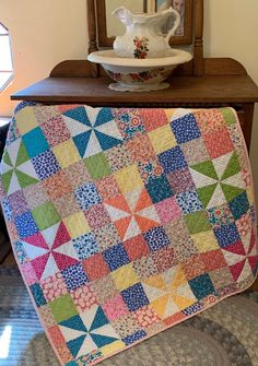 I love this pinwheel baby quilt found for sale on Etsy. Lap Quilts, Scrappy Quilts, Small Quilts, Mini Quilts, Quilt Baby, Jellyroll Quilts, Patch Quilt, Quilt Blocks, Pattern Blocks