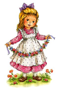 Little World - Mama Mia - Picasa Web Albums Holly Hobbie, Vintage Artwork, Vintage Images, Baby Animal Drawings, Vintage Birthday, Cute Images, Vintage Girls, Colorful Pictures, Cute Illustration