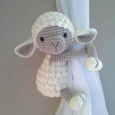 Buttercup - Lamb curtain tieback crochet PATTERN, right or left tieback pattern PDF - Lamb Pattern Crochet Bobble, Crochet Amigurumi, Bobble Stitch, Single Crochet Stitch, Crochet Baby, Free Crochet, Amigurumi Toys, Crochet Sheep, Learn Crochet