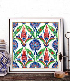 Vintage Floral Pattern Watercolor Art, Ottoman Blue Carnation Red Tulip Home Decor, Traditional Turkish Motif Prints and Original Painting by HermesArts