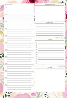 Agenda diária para baixar e imprimir. https://printforfun.wordpress.com/2015/06/12/agenda-personalizada-para-imprimir/