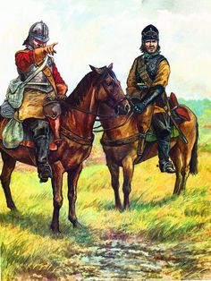 """Parliamentarian cavalrymen on patrol""- by Richard Scollins"