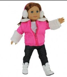 """AFW PINK LEOPARD PRINT ICE SKATING OUTFIT for 18/"""" Doll American Girl Clothes NEW"""
