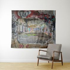 Lost Place ABandoned Building Graffiti Wall Art Tapestry - home gifts ideas decor special unique custom individual customized individualized