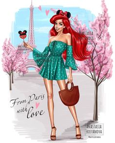 My Ariel💕 From Paris with Love💕💚 What do you think about Disney Princesses travel collection? Disney Princess Fashion, Disney Princess Pictures, Disney Princess Drawings, Disney Princess Art, Anime Princess, Disney Fan Art, Disney Pictures, Disney Drawings, Disney Pixar