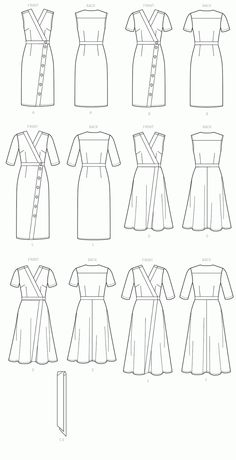 Vogue Patterns Sewing Pattern Misses' Dress and Sash Dress Design Drawing, Dress Design Sketches, Fashion Design Drawings, Clothes Design Drawing, Illustration Mode, Fashion Illustration Sketches, Fashion Sketches, Vogue Sewing Patterns, Clothing Patterns