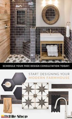 Achieve a modern farmhouse bathroom design by combining traditional elements with a modern twist. Hexagonal, subway, encaustic, patterned and natural wood-look tiles all bring elements of modern farmhouse style to your home. Complete the look with painted Dream Bathrooms, Beautiful Bathrooms, Bathroom Renos, Small Bathroom, Bathroom Ideas, Bathroom Vinyl, Modern Farmhouse Bathroom, Bath Remodel, My New Room