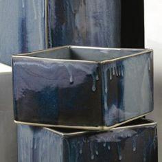 "Alex Marshall Studios Square Vase Color: Brown Stripe, Size: 6"" H x 7"" W x 7"" D"