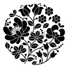Hungarian Embroidery Stitch Kalocsai black embroidery - Hungarian round floral folk pattern by RedKoala Hungarian Embroidery, Folk Embroidery, Learn Embroidery, Indian Embroidery, Floral Embroidery, Chain Stitch Embroidery, Embroidery Stitches, Bordado Popular, Embroidery Designs