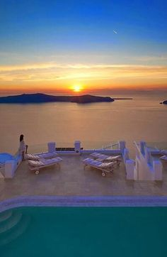 Santorini~sunset and the volcano